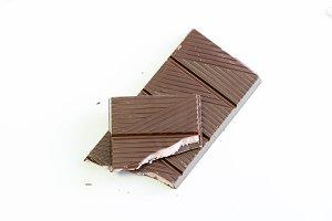 Tiles of dark chocolate