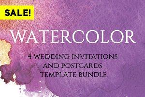 Watercolor wedding invitation bundle