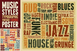 Music Styles typographic poster.