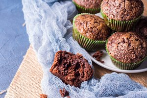 Chocolate banana muffins with sugar topping. Square
