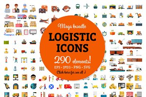 Sale! Mega Bundle of Logistic Icons