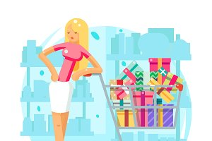 Shop cart shopping woman