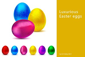Set of luxurious Easter eggs