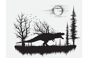 dinosaur t-rex in strange forest