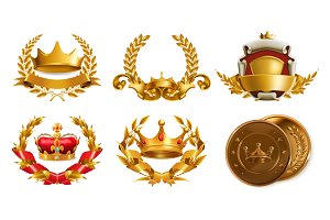 Crown and laurel wreath. Vector