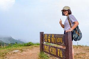 Teen girl on Phu Chi Fa mountain