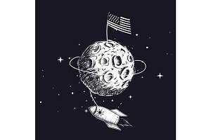 American flag on on the moon.