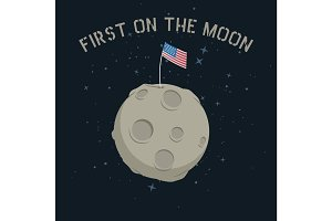 American flag stands on on the moon.