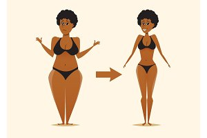 Fat and skinny black woman after the diet.
