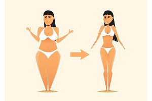 Fat and skinny girl after the diet.
