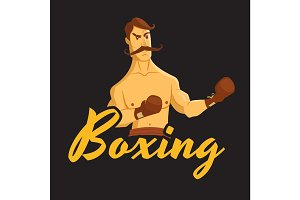 boxing label with vintage boxer
