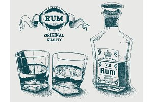 Two glasses of alcohol, bottle and rum logotype
