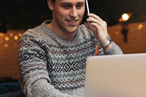 Businessman using his laptop.
