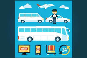 Airport shuttle icons set