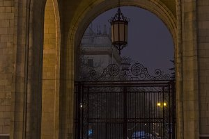 Arch with lantern hanging in it