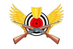 Hunting symbol of round target with wings and riffle guns