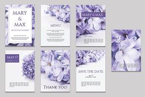 Purple wedding invitations bundle