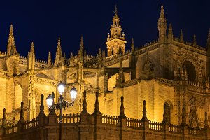 Evening Seville Cathedral, Spain.