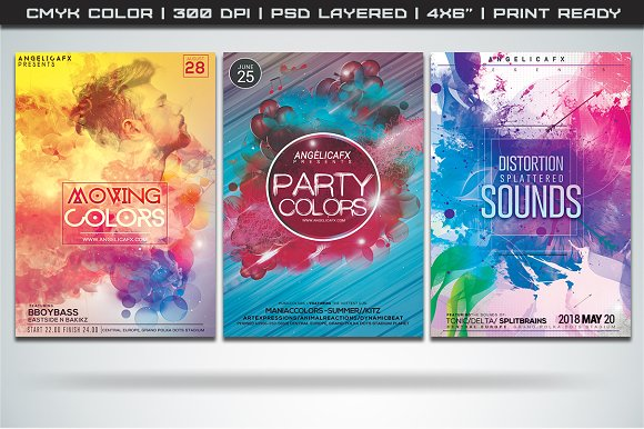 colorful flyers bundle 5 flyer templates creative market