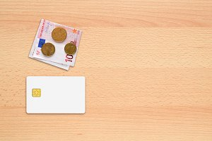 Credit card mock-up and money