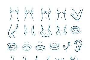 Plastic surgery vector icons set