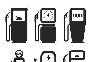 Gas and fuel pump icons