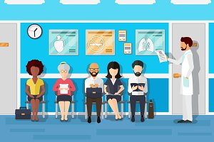 Patients in doctors waiting room