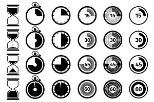 Timer, stopwatch and hourglass icons