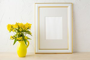 Frame mockup with yellow flowers
