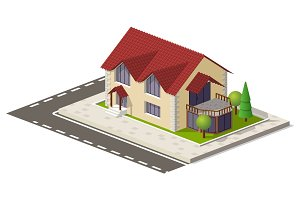 Beautiful small isometric house on green ground isolated on white. Property, real estate, construction and rent concept
