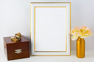 Frame mockup with wooden box