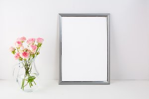 Silver frame mockup with pink roses