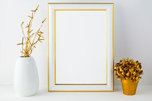 Frame mockup with white vase