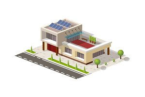 Isometric High-tech house vector illustration. Contemporary american with solar panels, terrace, green pots. 3D lowpoly office, garage, car store, salon icon