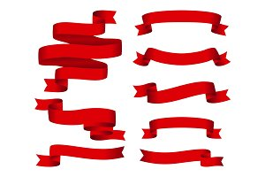 Red glossy ribbon vector banners set. Ribbons collection