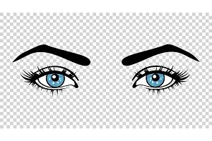 Vector blue female eyes with long lashes and make up. Beautiful girls