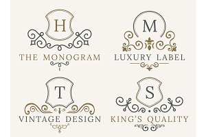 Luxury logo set. Calligraphic pattern elegant decor elements. Vintage vector ornament Signs and Symbols. The Letters W, H, T, S