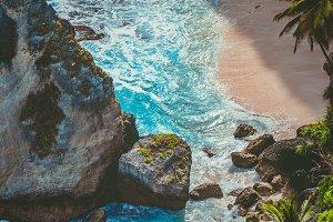 Beautiful Rock in Ocean on Atuh Beach, Nusa Penida, Bali, Indonesia