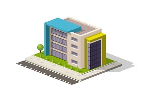 Vector isometric icon or infographic element representing low poly hospital building office store. Business center