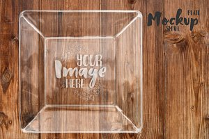 Small Square Glass Plate Mockup