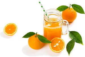 Orange juice and fruits.