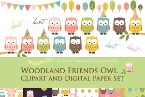 Owl Clipart+Pattern set
