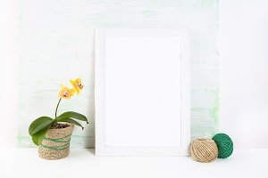 White frame mockup with orchid