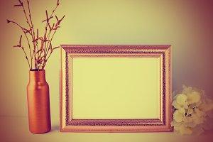 Vintage landscape gold frame mockup