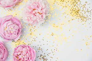 Pink Peony Photo with Gold Glitter