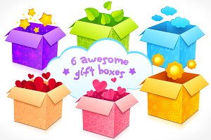 6 high quality vector gift boxes