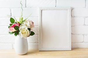 Shabby chic style white frame mockup