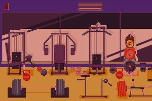 Flat colorful gym.