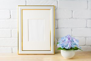 White frame mockup with hydrangea