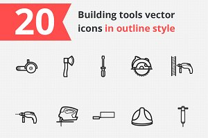 20 Building tools vector icons